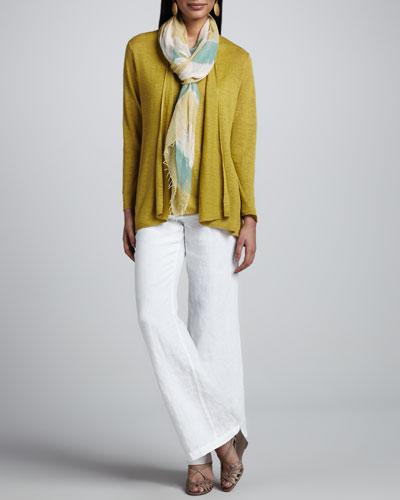 Eileen Fisher Linen Flutter Cardigan, Linen-Jersey Tank, Heavy Linen Trousers & Air Striped Scarf, Petite