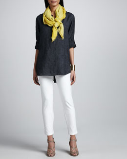 Eileen Fisher Delave Washed Linen Tunic, Slim Stretch Crepe Ankle Pants & Botanical Jacquard Reversible Scarf