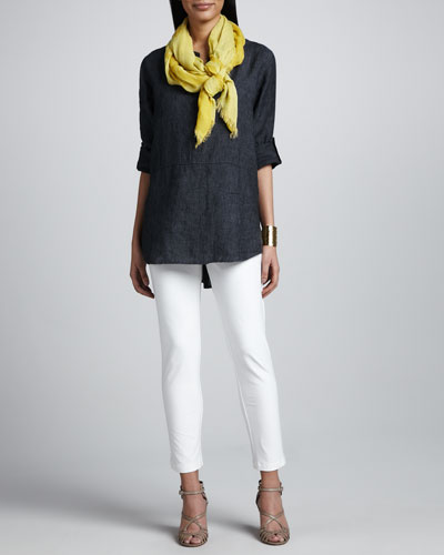 Eileen Fisher Delave Washed Linen Tunic, Slim Stretch Crepe Ankle Pants & Botanical Jacquard Reversible Scarf, Petite