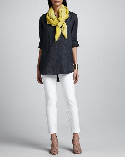 Delave Washed Linen Tunic, Slim Stretch Crepe Ankle Pants & Botanical Jacquard Reversible Scarf, Petite