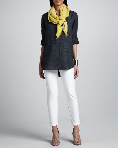 Eileen Fisher Delave Washed Linen Tunic, Slim Stretch Crepe Ankle Pants & Botanical Jacquard Reversible Scarf, Women's