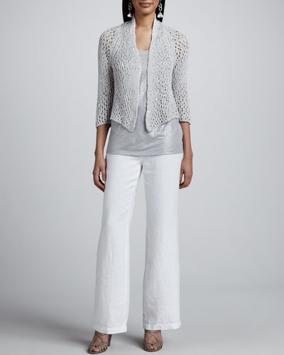 Eileen Fisher Chain Mail Mesh Cardigan, Shimmer Sleeveless Shell & Heavy Linen Trousers, Petite