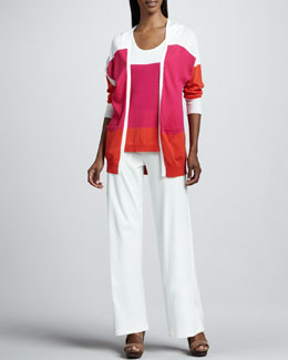 Joan Vass Easy Open Colorblock Cardigan, Tank & Casual Cotton Wide-Leg Pants