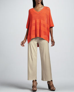 Joan Vass Oversized Mesh Sweater, Cotton Rib Tank & Casual Wide-Leg Interlock Pants