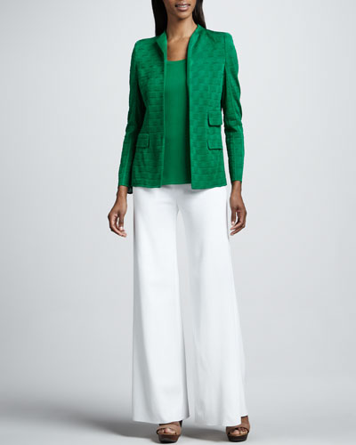 Misook Lilly Textured Jacket, Amy Knit Tank, Palazzo Pants