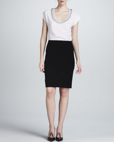Diane von Furstenberg Acedia Silver Ball Top & New Koto Skirt
