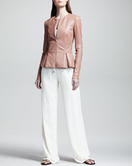 THE ROW Stretch-Leather Peplum Jacket, Stretch-Georgette Camisole & Drawstring Pajama Pants