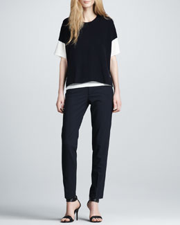 Vince Layered Cashmere Sweater & Relaxed Crepe Pants