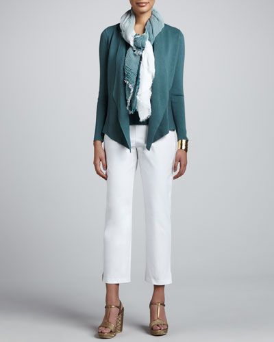 Eileen Fisher Silk-Cotton Jacket, Cowl-Neck Tank, Jersey Tank, Ombre Scarf & Slim Ankle Pants