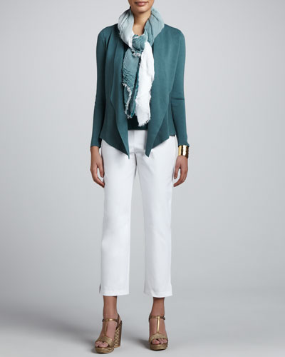 Eileen Fisher Silk-Cotton Jacket, Cowl-Neck Tank, Jersey Tank, Ombre Scarf & Slim Ankle Pants, Women's