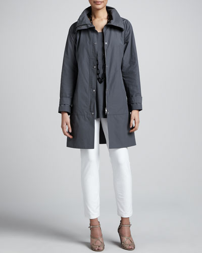 Weather-Resistant Coat, Silk Jersey Tunic & Slim Ankle Pants