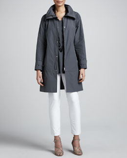 Eileen Fisher Weather-Resistant Coat, Silk Jersey Tunic & Slim Ankle Pants, Petite