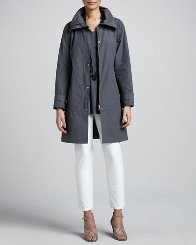 Weather-Resistant Coat, Silk Jersey Tunic & Slim Ankle Pants, Petite