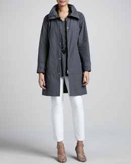 Eileen Fisher Weather-Resistant Coat, Silk Jersey Tunic & Slim Ankle Pants, Women's