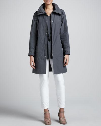 Eileen Fisher Weather-Resistant Coat, Silk Jersey Tunic & Slim Ankle Pants, Women's