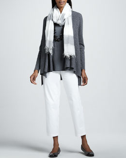 Eileen Fisher Linen Slub Cardigan, Jersey Tank, Twill Ankle Pants & Ethiopian Air Striped Scarf