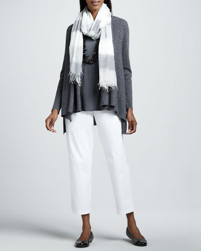 Eileen Fisher Linen Slub Cardigan, Jersey Tank, Twill Ankle Pants & Ethiopian Air Striped Scarf, Women's