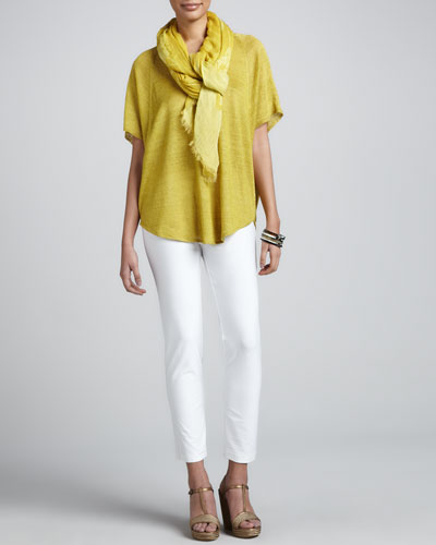 Eileen Fisher V-Neck Long Linen Tunic, Slim Crepe Ankle Pants & Botanical Jacquard Reversible Scarf