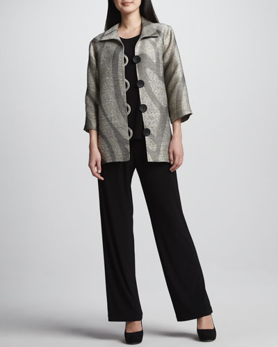 Caroline Rose Swirl Easy Shirt Jacket, Stretch-Knit Long Tank, Straight-Leg Jersey Pants