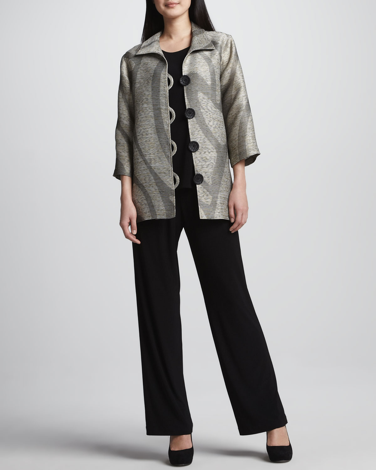 Swirl Easy Shirt Jacket, Stretch-Knit Long Tank, Straight-Leg Jersey Pants