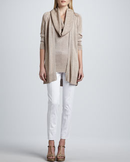 Magaschoni Open Front Metallic Knit Cardigan, Sleeveless Cowl-Neck Top  & Slim Pants
