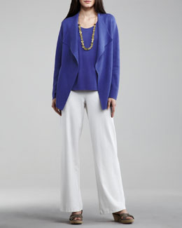 Eileen Fisher Open Interlock Cardigan, Silk-Jersey Tank & Washable-Crepe Wide-Leg Pants, Women's