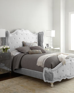 "NM EXCLUSIVE Silver ""Tabitha"" Tufted Bed"