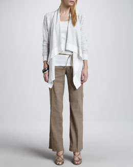 Eileen Fisher Striped Cascading Cardigan, Slim Tank, Metallic Belt & Straight-Leg Trousers