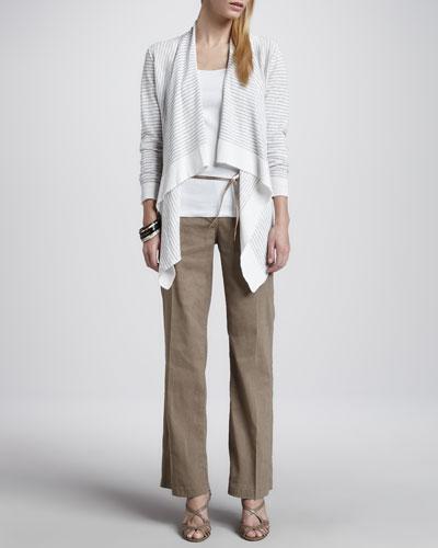 Eileen Fisher Striped Cascading Cardigan, Slim Tank, Metallic Belt & Straight-Leg Trousers