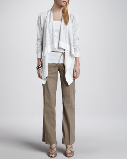 Eileen Fisher Striped Cascading Cardigan, Slim Tank, Metallic Belt & Straight-Leg Trousers, Petite