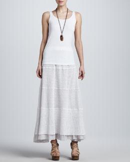 Eileen Fisher Organic Cotton Tank & Linen Lace Long Skirt