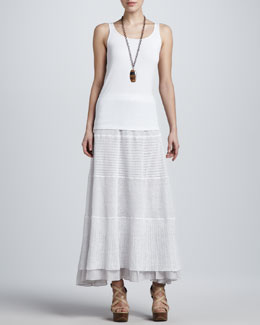 Eileen Fisher Organic Cotton Tank & Linen Lace Long Skirt, Petite