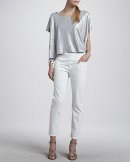 Eileen Fisher Linen Shimmer Poncho Top, Organic Cotton Slim Tank & Skinny Ankle Jeans