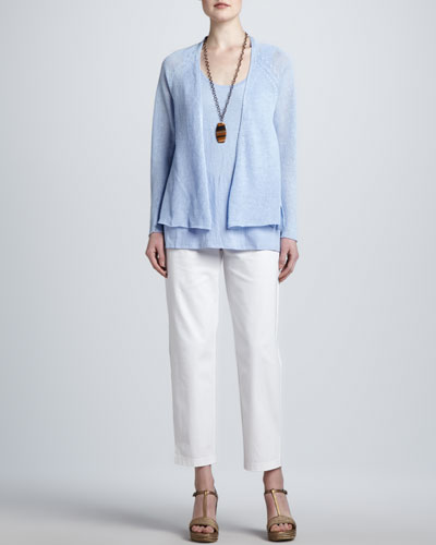 Eileen Fisher Linen Mesh Cardigan, Jersey Tank & Organic Cotton Slim Ankle Pants
