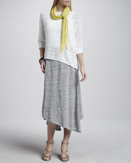 Eileen Fisher Nubble Mesh Box Top, Slim Tank, Ribbed Parallelogram Scarf & Swing Skirt