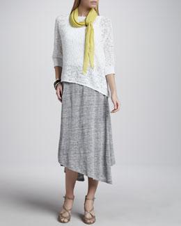 Eileen Fisher Nubble Mesh Box Top, Slim Tank, Ribbed Parallelogram Scarf & Swing Skirt
