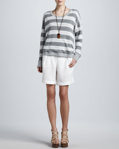 Eileen Fisher Striped Overlay Boxy Top, Organic Cotton Slim Tank & City Shorts