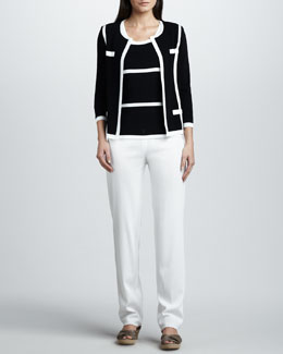 Misook Milano Jacket, Striped Tank & Boot-Cut Pants
