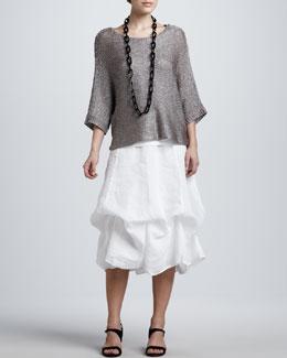 Eileen Fisher Liquid Shine Top, Organic Cotton Tank & Handkerchief Linen Long Skirt