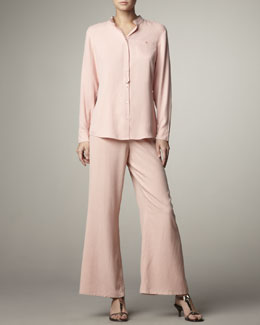 Go Silk Mandarin Silk Blouse & Wide-Leg Pants