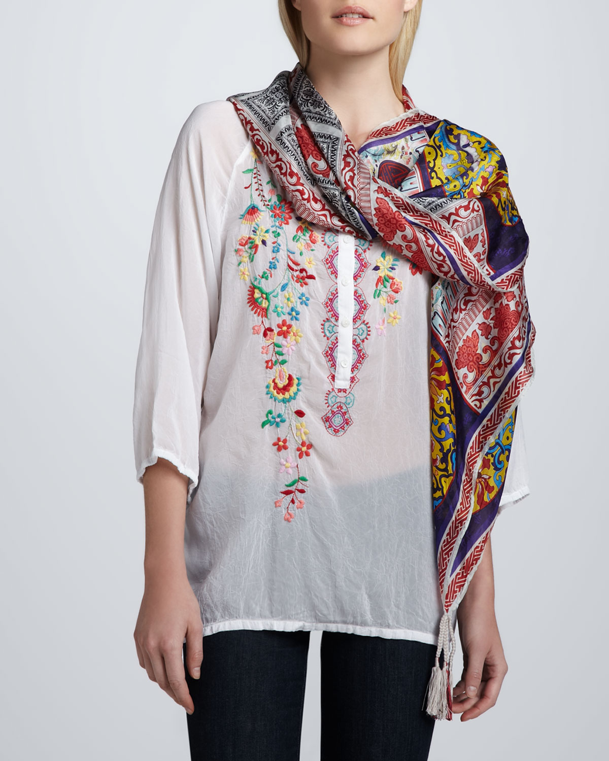 Embroidered Georgette Monet Blouse & Patchwork Silk Georgette Scarf, Women's