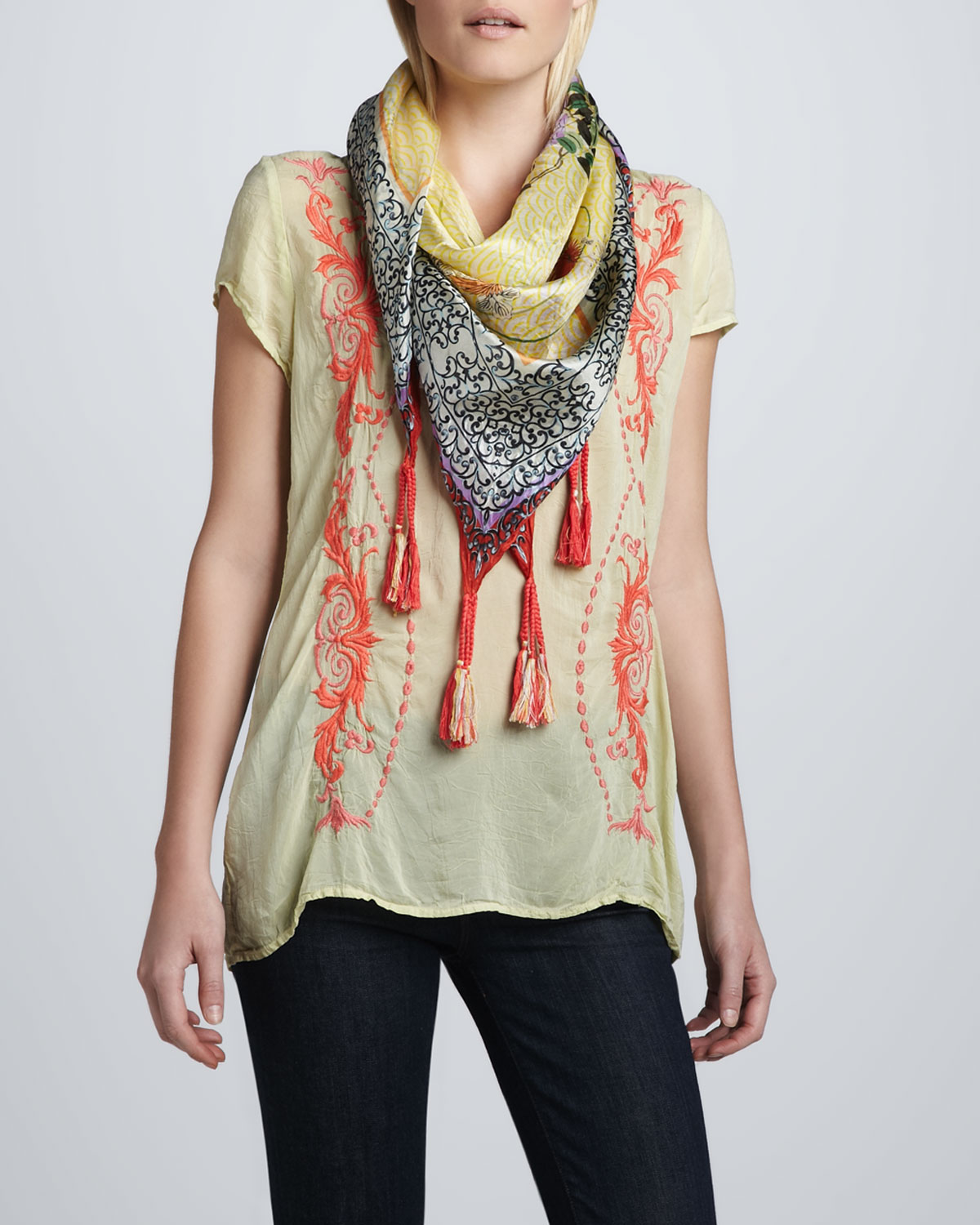 Embroidered Georgette Majestic Blouse & Wisteria Print Silk Scarf, Women's
