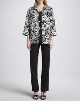 Caroline Rose Animal-Print Linen Jacket, Long Tank & Straight-Leg Pants
