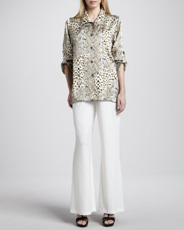 Caroline Rose Mirage Collage Silk Shirt & Stretch Wide-Leg Pants, Women's