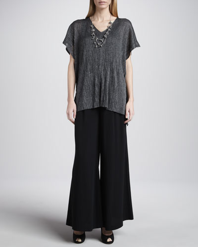 Eileen Fisher Crinkle V-Neck Tunic, Slim Tank, Crochet Sparkle Necklace & Georgette Wide-Leg Pants