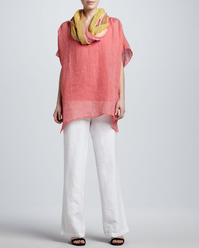 Eileen Fisher Striped Linen Tunic, Organic-Cotton Tank, Tinted Scarf & Heavy Linen Trousers
