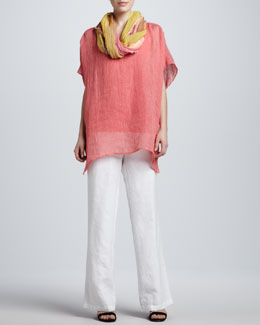 Eileen Fisher Striped Linen Tunic, Organic-Cotton Tank, Tinted Scarf & Heavy Linen Trousers, Petite