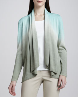 Lafayette 148 New York Dip-Dyed Shawl Collar Cardigan & Scoop-Neck Tee