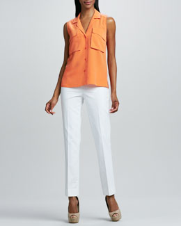 Lafayette 148 New York Jolisa Sandwashed Silk Blouse & Bleecker Cropped Pants