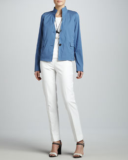 Lafayette 148 New York Diana Two-Button Jacket, Basic Cotton Tank, Long Silver Square Necklace & Bleecker Cropped Pants